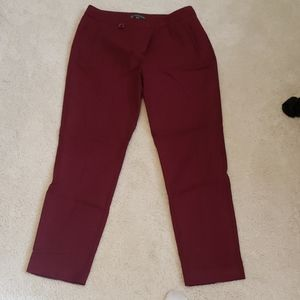 Maroon ankle crop pants